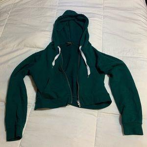Forever 21 Green Cropped Zip-Up Hoodie Jacket